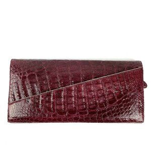 Nancy Gonzalez Burgundy Red Crocodile Clutch